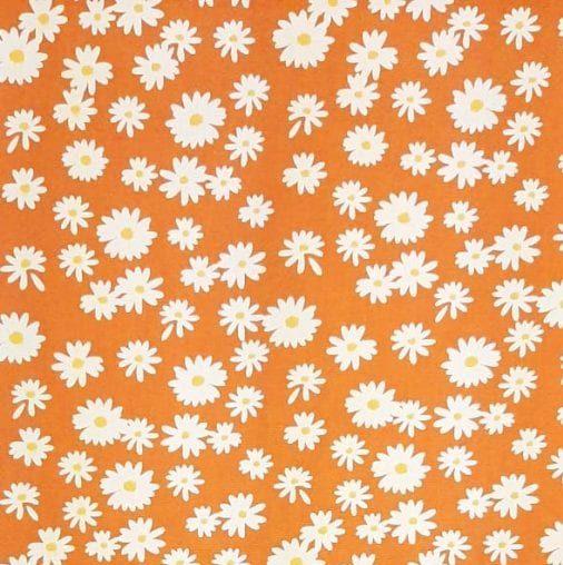 Tricoline Margaridas Fundo Laranja 100% algodão - valor referente a 50 cm x 1,50 cm