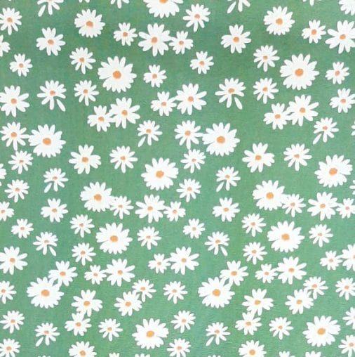 Tricoline Margaridas Verde Militar 100% algodão - valor referente a 0,50 cm x 1,50 cm