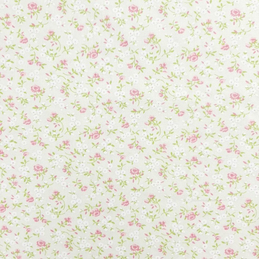 Tricoline Florzinha Creme 100% algodão - valor referente a 50 cm x 1,50 cm