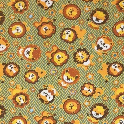 Leão Fundo Marrom 100% algodão - valor referente a 50 cm x 1,50 cm