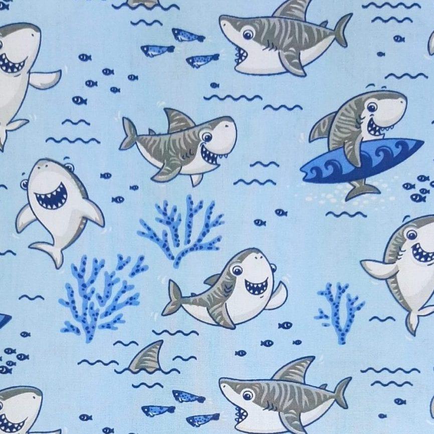 Tricoline Baby Shark Azul 100% algodão - valor referente a 0,50 cm x 1,50 mt
