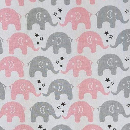 Tricoline Elefante Cinza e Rosa 100% algodão - valor referente a 50 cm x 1,50 mt