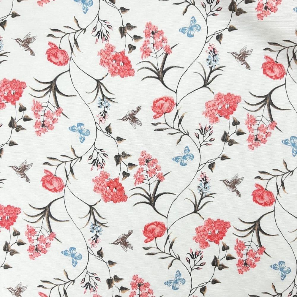 Tricoline Flores e Beija Flor MISTA 70% algodão 30% poliéster - valor referente a 50 cm x 1,50 cm