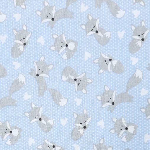 Tricoline Raposa Fundo Azul Claro 100% algodão - valor referente a 50 cm x 1,50 cm