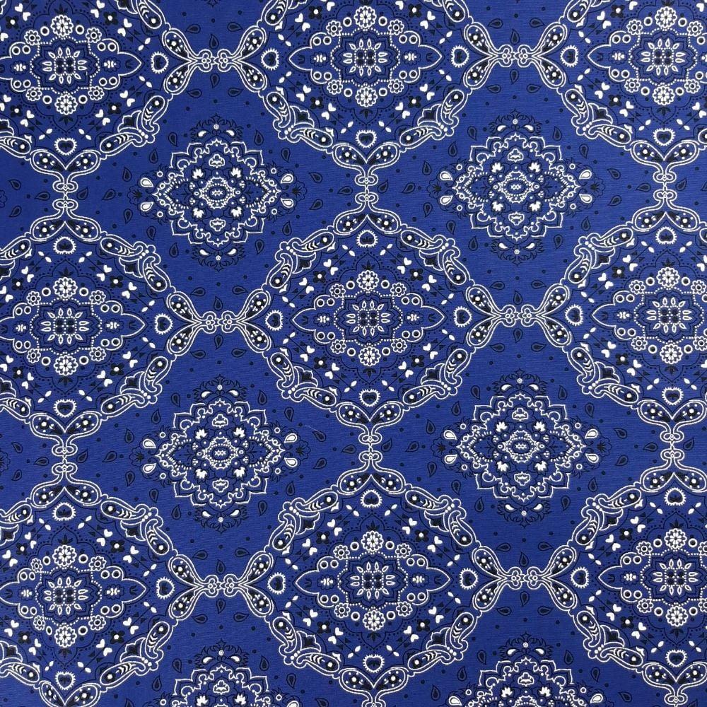 Tricoline Bandana Azul Royal e Branca - 100% algodão - valor referente a 50 cm x 1,50 cm