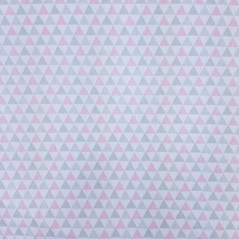 Tricoline Triângulos Pequenos Rosa e Cinza 100% algodão - valor referente a 50 cm x 1,50 mt