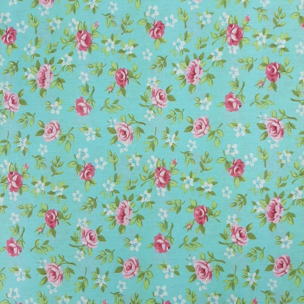 Tricoline Lucia Fundo Verde - 100% algodão - valor referente a 50 cm x 1,50 cm