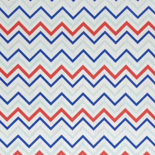 Tricoline Chevron Médio Azul Royal e Vermelho 100% algodão - cada unid. 0,50cm x 1,50m