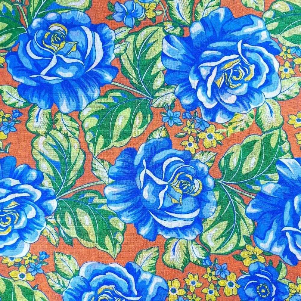 Chita Fundo Laranja com Flores Azuis - valor referente a 50 cm x 1,40 cm
