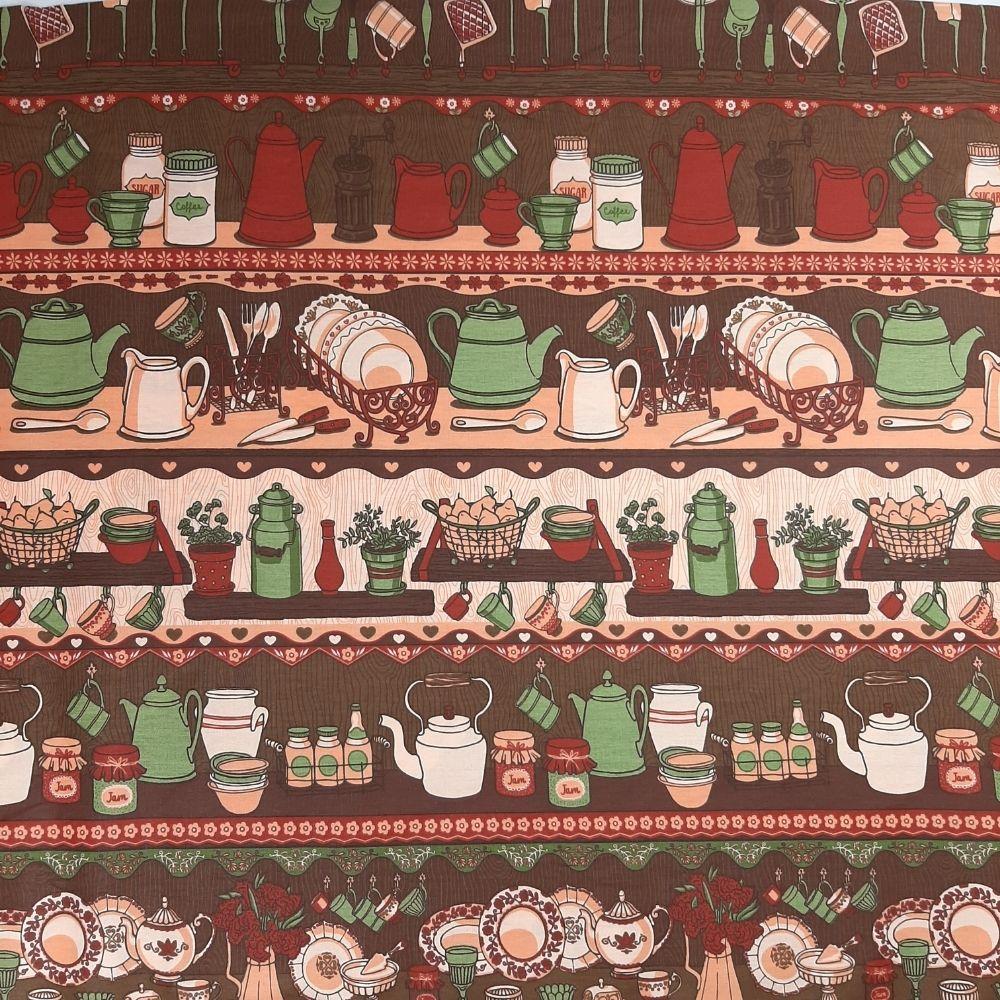 Tricoline Faixas Cozinha Marrom 100% algodão - valor referente a 0,5 cm x 1,50 cm