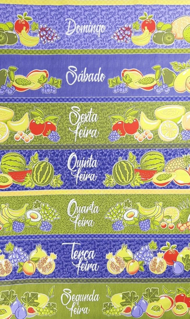 Tricoline Semaninha de Frutas 100% algodão - valor referente a 50 cm x 1,50 cm