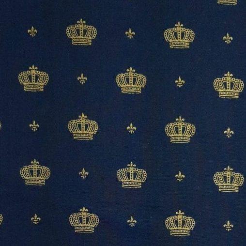 Tricoline Coroa Fundo Marinho 100% algodão - valor referente a 0,50 cm x 1,50 cm