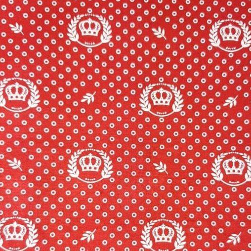 Tricoline Coroas Fundo Vermelho 100% algodão - valor referente a 50 cm x 1,50 mt