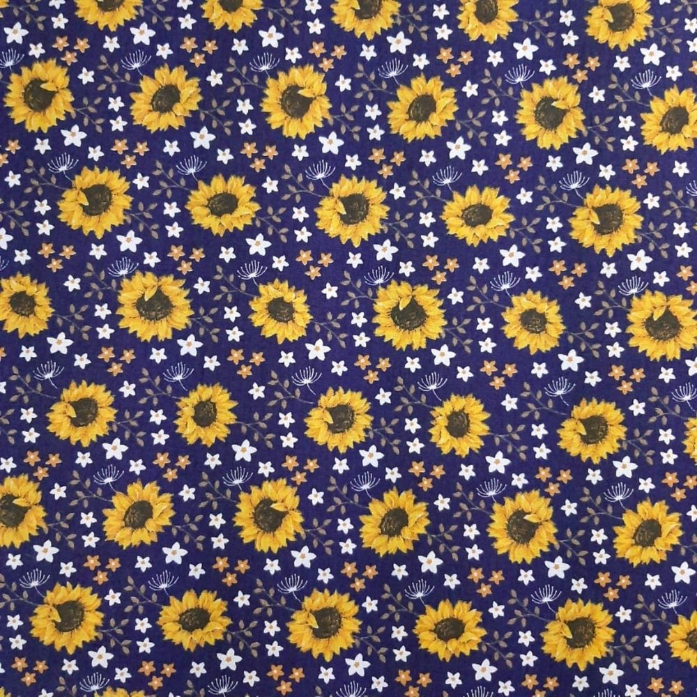 Tricoline Girassol e Flores 100% algodão - valor referente a 50 cm x 1,50 cm