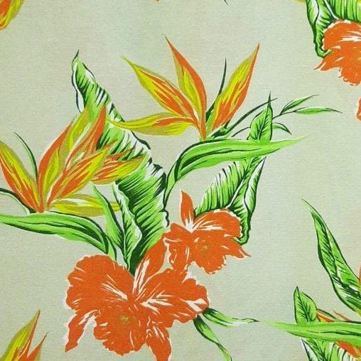 Tecido Impermeável Flor Laranja  - valor referente a 0,5 cm x 1,40 mt