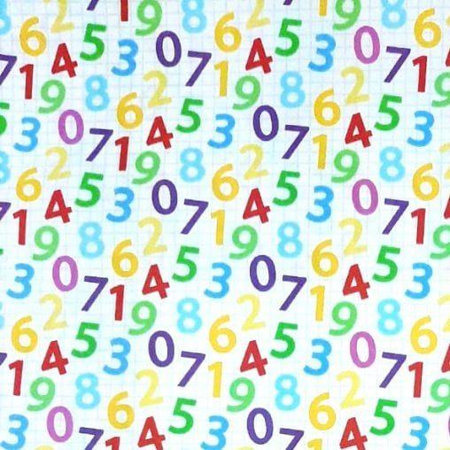 Tricoline Números Coloridos 100% algodão - cada unid. 0,50cm x 1,50m