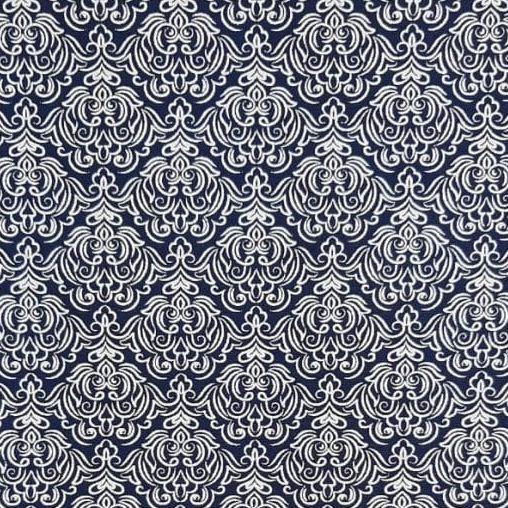 Tricoline Arabesco Fundo Azul Marinho 100% algodão - cada unid. 0,50cm x 1,50m