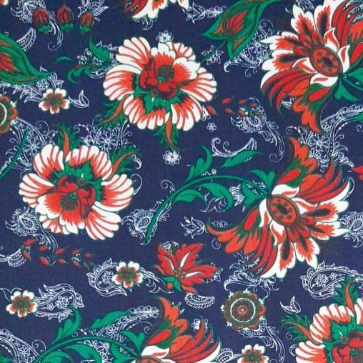 Tricoline Flores Mandalas Azul Marinho 100% algodão  - valor referente a 0,5 cm x 1,50 mt