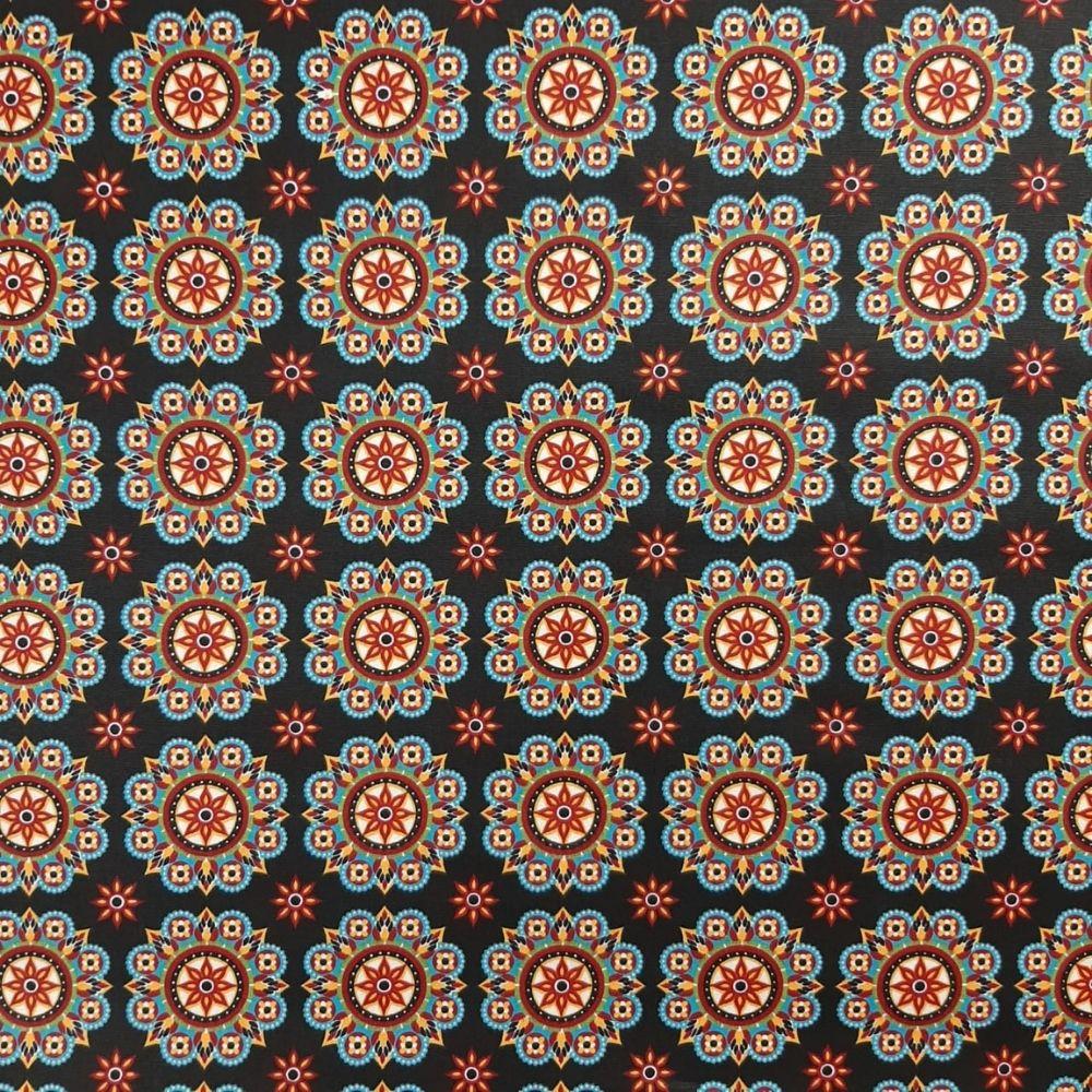 Tricoline Mandala Fundo Preto 100% algodão - valor referente a 0,50 cm x 1,50 cm
