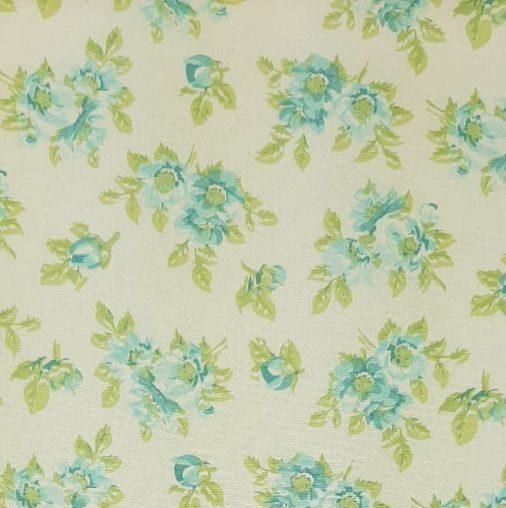 Tricoline Jardim Creme Azul 100% algodão - valor referente a 0,50 cm x 1,50 cm