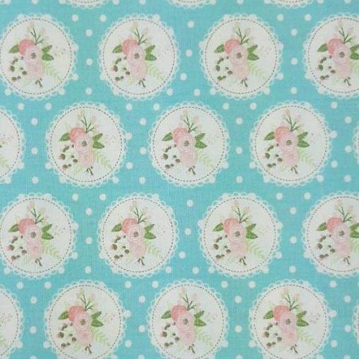 Tricoline Shabby Lace Azul Cristal 100% algodão - cada unid. 0,50cm x 1,50m