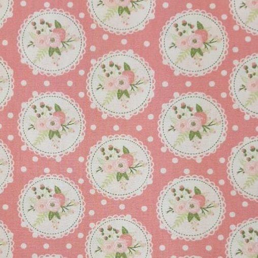 Tricoline Shabby Lace Rosa Romântico 100% algodão - valor referente a 0,50 cm x 1,50 mt
