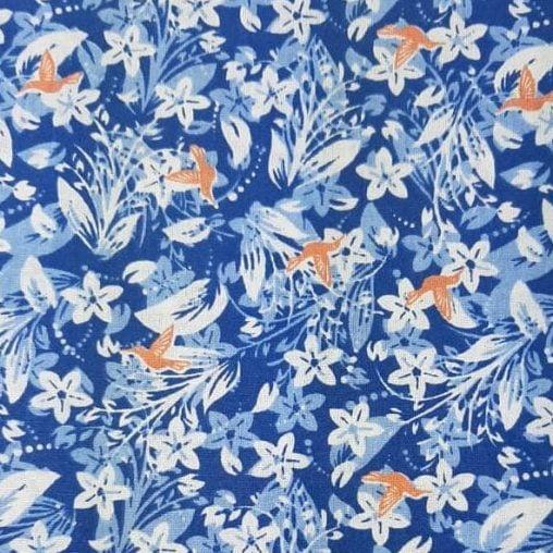 Tricoline Fundo Azul 100% algodão - cada unid. 0,50cm x 1,50m
