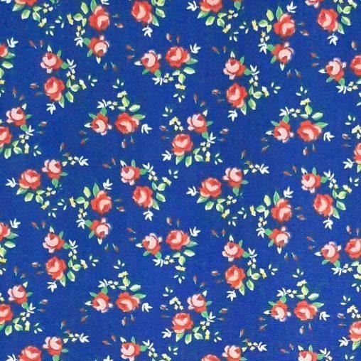 Tricoline Rosas Duplas Azul 100% algodão  - valor referente a 0,50 cm x 1,50 mt
