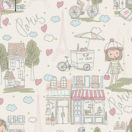 Tricoline Menina em Paris 100% algodão - cada unid. 0,50cm x 1,50m