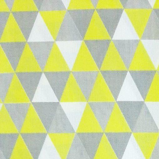 Tricoline Triângulos Cinza e Amarelo 100% algodão