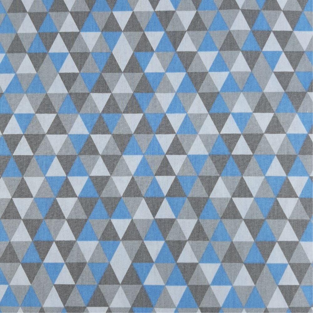 Tricoline Triângulos Azul Bebe com Cinza 100% algodão - valor referente a 50 cm x 1,50 mt