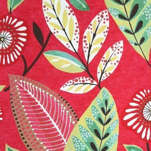 Tecido Impermeável Flores com Fundo Vermelho - valor referente a 0,50 cm x 1,40 cm