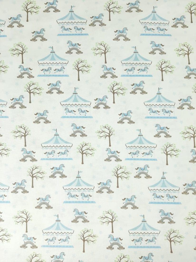 Tricoline Carrossel Azul Claro100% algodão  - valor referente a 50 cm x 1,50 mt