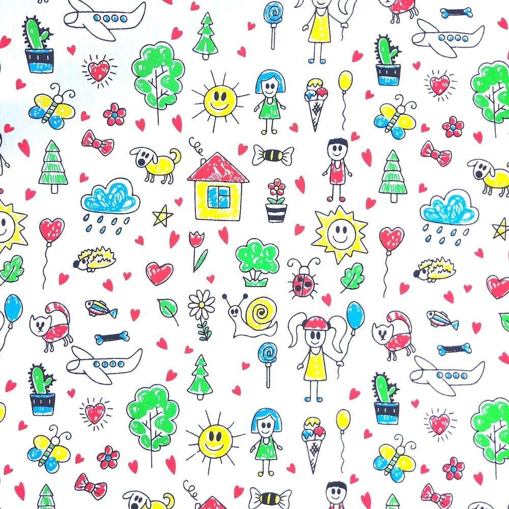 Tricoline Desenho Infantil - 100% algodão - valor referente a 50 cm x 1,50 cm