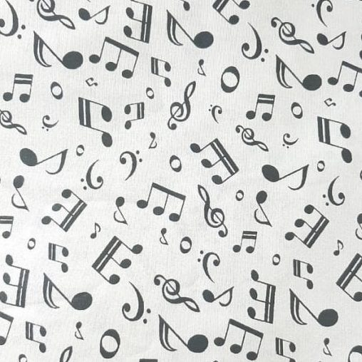 Tricoline Notas Musicais 100% algodão - cada unid. 0,50cm x 1,50m