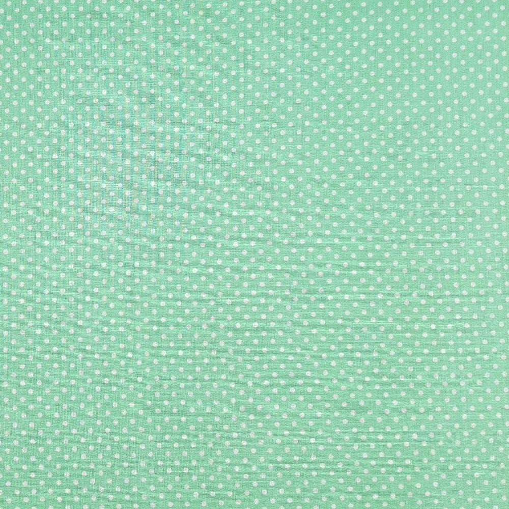 Popeline Poá Pequeno Verde Água 50% Algodão 50% Poliéster   - valor referente a 50 cm x 1,40 cm