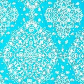 Tricoline Bandanas Tradicional Turqueza com Branco 100% algodão - valor referente a 0,50 cm x 1,50 cm