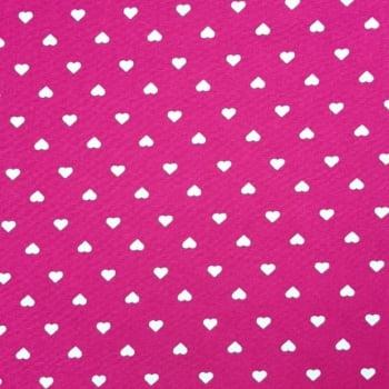 Tricoline Corações Fundo Pink 100% algodão - valor referente a 50 cm x 1,50 cm