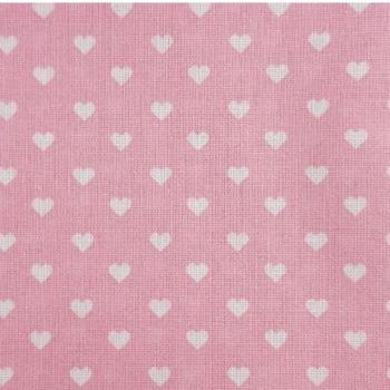Popeline Corações Fundo Rosa Claro 50% Algodão 50% Poliéster  - valor referente a 50 cm x 1,40 cm