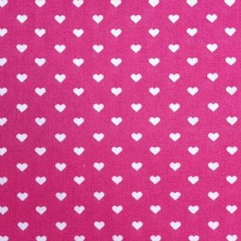 Popeline Corações Fundo Pink 50% Algodão 50% Poliéster  - valor referente a 50 cm x 1,40 cm