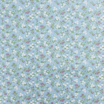Tricoline Florzinha Azul 100% algodão - valor referente a 50 cm x 1,50 cm