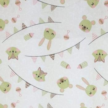 Tricoline Animais Baby Rosa Claro 100% algodão  - valor referente a 50 cm x 1,50 mt