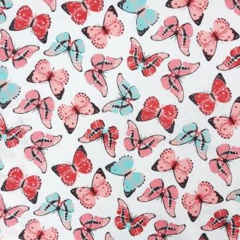 Tricoline Borboletas MISTA 70% algodão 30% poliéster - valor referente a 50 cm x 1,50 cm