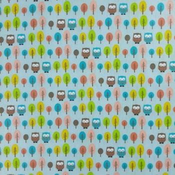 Tricoline Fabricart Signature Corujas e Árvores Azul 100% algodão - valor referente a 50 cm x 1,50 cm