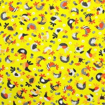 Tricoline Galinhas Fundo Amarelo - 100% algodão - valor referente a 50 cm x 1,50 cm