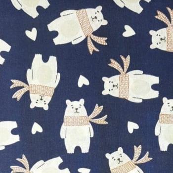 Tricoline Urso Polar Fundo Azul Marinho 100% algodão - cada unid. 0,50cm x 1,50m