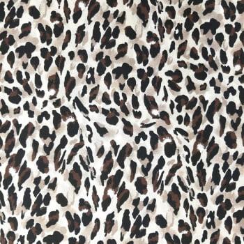 Tricoline Onça Fundo Creme -  70% algodão 30% poliéster  - valor referente a 50 cm x 1,50 cm