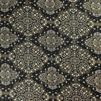 Tricoline Bandana Preta e Dourada - 100% algodão - valor referente a 50 cm x 1,50 cm
