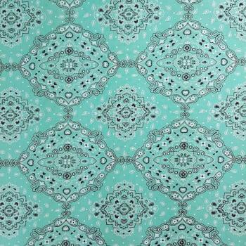 Tricoline Bandana Verde Água com Preto - 100% algodão - valor referente a 0,50 cm x 1,50 cm