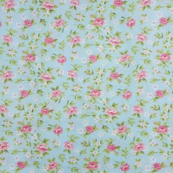 Tricoline Floral Lucia Azul -100% algodão- valor referente a 50 cm x 1,50 cm